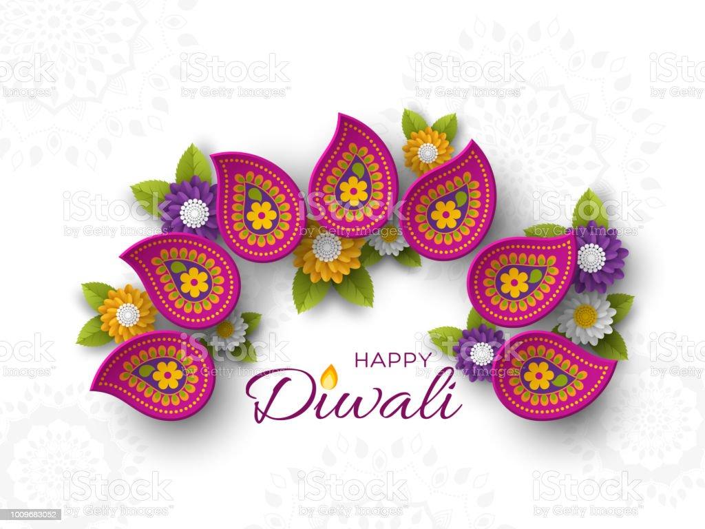 Stil Hint Rangoli ve çiçek kesme Diwali festivali tatil tasarım kağıt ile. Mor renk beyaz arka planda, vektör çizim. vektör sanat illüstrasyonu
