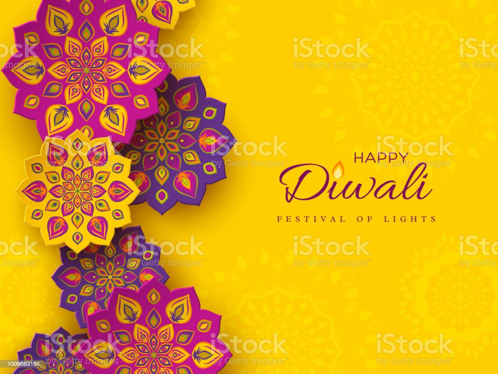 Diwali festival holiday design with paper cut style of Indian Rangoli. Purple color on yellow background, vector illustration. vector art illustration