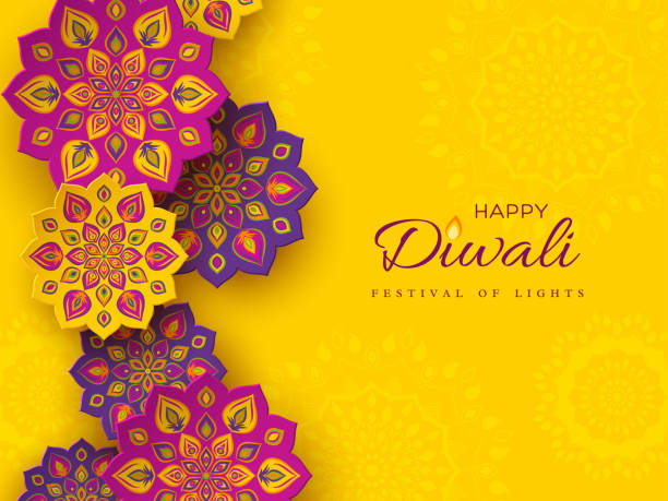 diwali festival holiday design with paper cut style of indian rangoli. purple color on yellow background, vector illustration. - diwali stock illustrations, clip art, cartoons, & icons