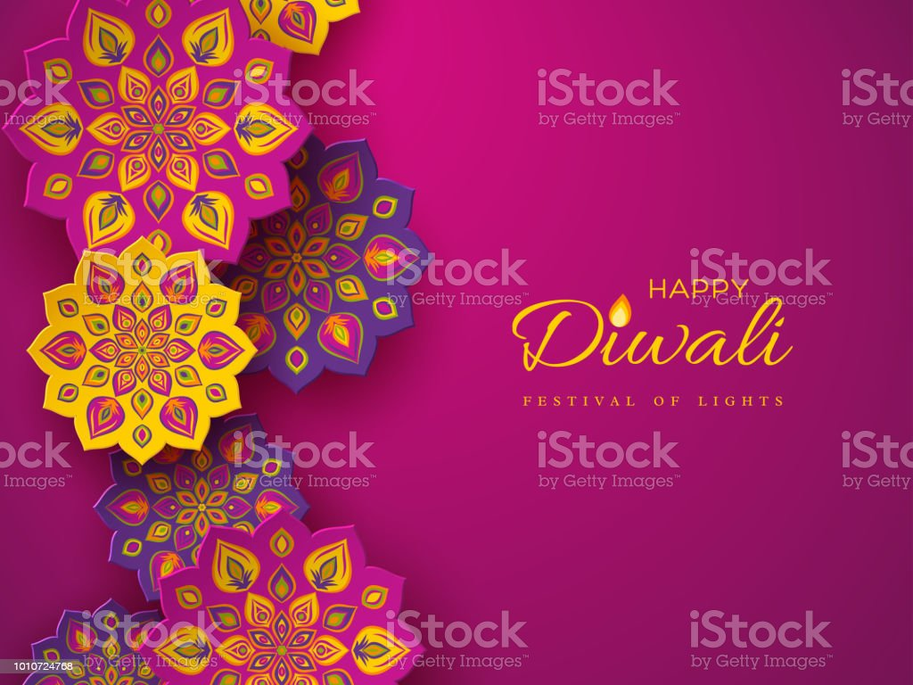 Diwali festival holiday design with paper cut style of Indian Rangoli. Purple color background, vector illustration. vector art illustration