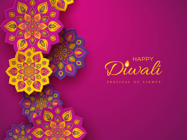 diwali festival holiday design with paper cut style of indian rangoli. purple color background, vector illustration. - diwali stock illustrations, clip art, cartoons, & icons