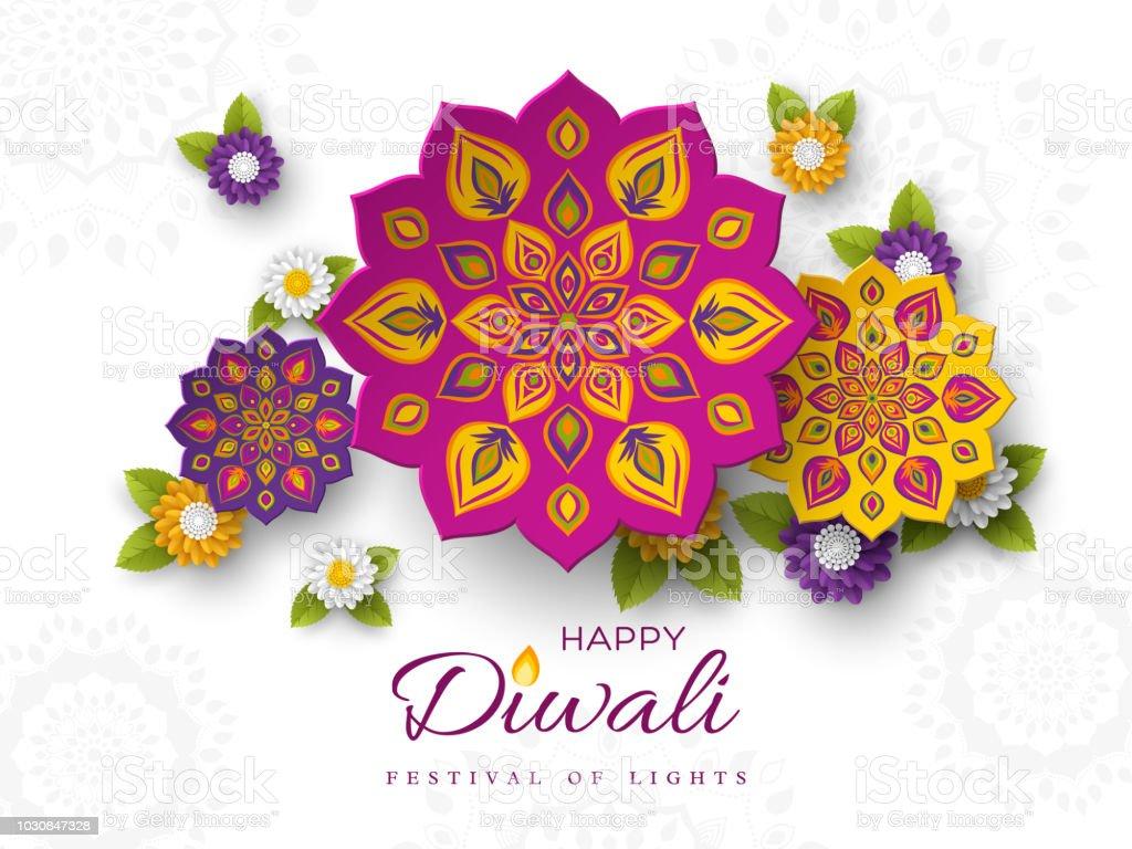 Stil Hint Rangoli ve çiçek kesme Diwali festivali tatil tasarım kağıt ile. Mor, mor, sarı renkler beyaz arka planda, vektör çizim. vektör sanat illüstrasyonu