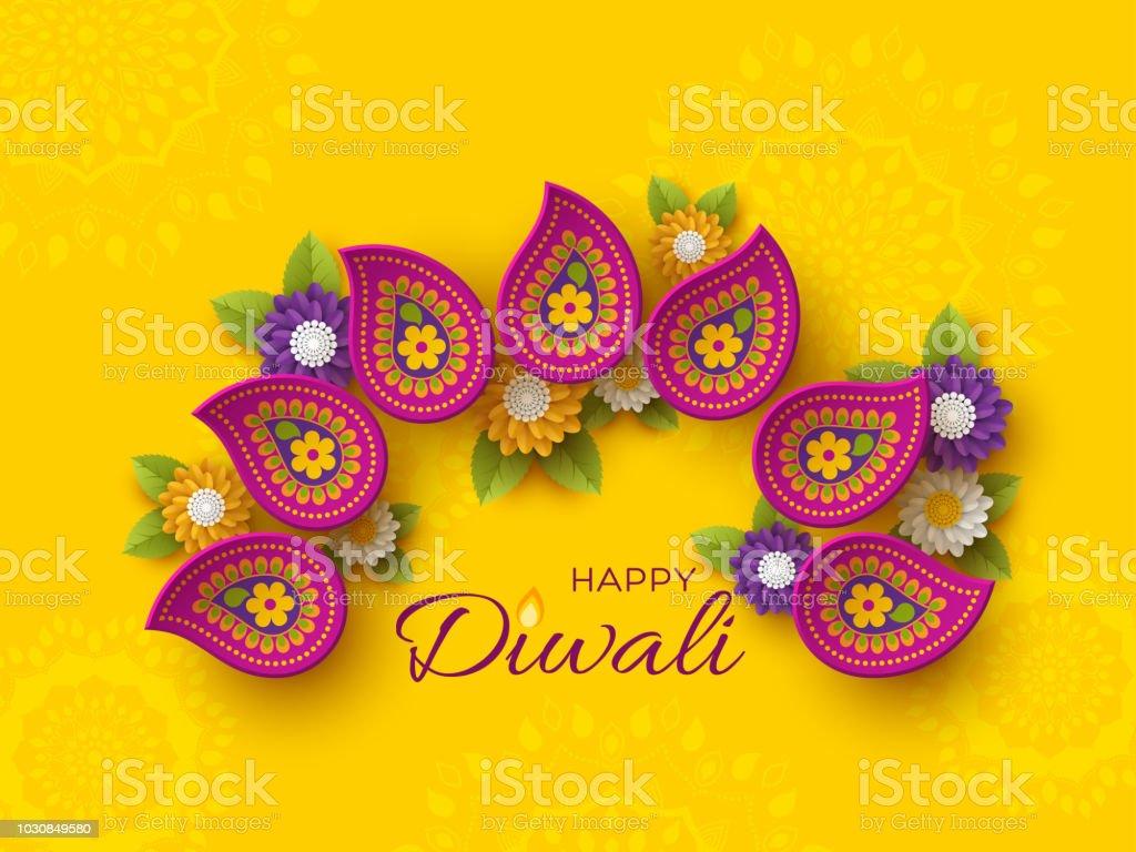 Stil Hint Rangoli ve çiçek kesme Diwali festivali tatil tasarım kağıt ile. Mor renk sarı arka plan, vektör çizim üzerinde. vektör sanat illüstrasyonu