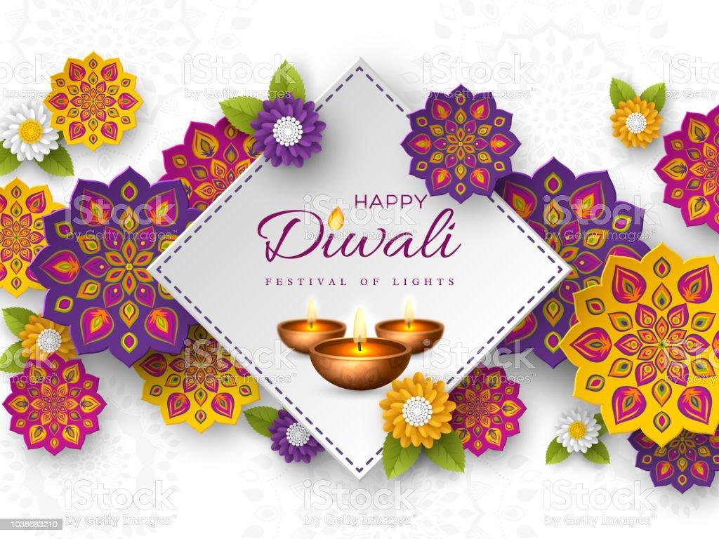 Kesme Diwali festivali tatil tasarım kağıt ile Hint Rangoli, çiçekler ve diya - kandil tarzı. Renk arka plan beyaz, illüstrasyon vektör. vektör sanat illüstrasyonu