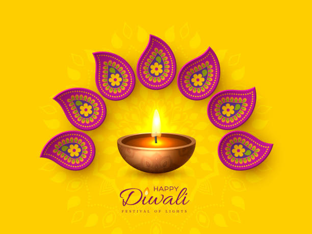 diwali festival holiday design with paper cut style of indian rangoli and diya - oil lamp. purple color on yellow background, vector illustration. - diwali stock illustrations