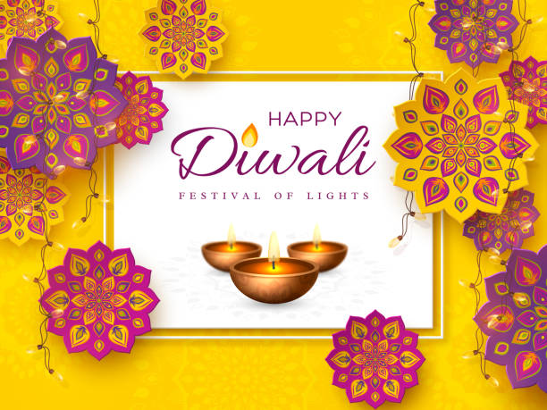 diwali festival holiday design with rangoli. - diwali stock illustrations