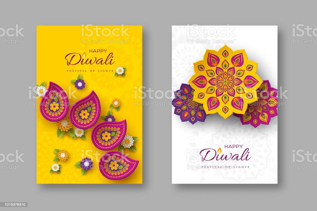 Diwali festivali tatil posterler kağıt ile Hint Rangoli ve çiçek tarzı kesti. Mor, mor renkleri beyaz ve sarı arka plan, vektör çizim üzerinde. vektör sanat illüstrasyonu
