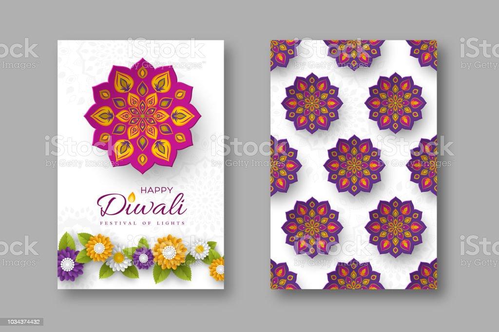 Diwali festivali tatil posterler kağıt ile Hint Rangoli ve çiçek tarzı kesti. Mor, mor renkler beyaz arka planda, vektör çizim. vektör sanat illüstrasyonu