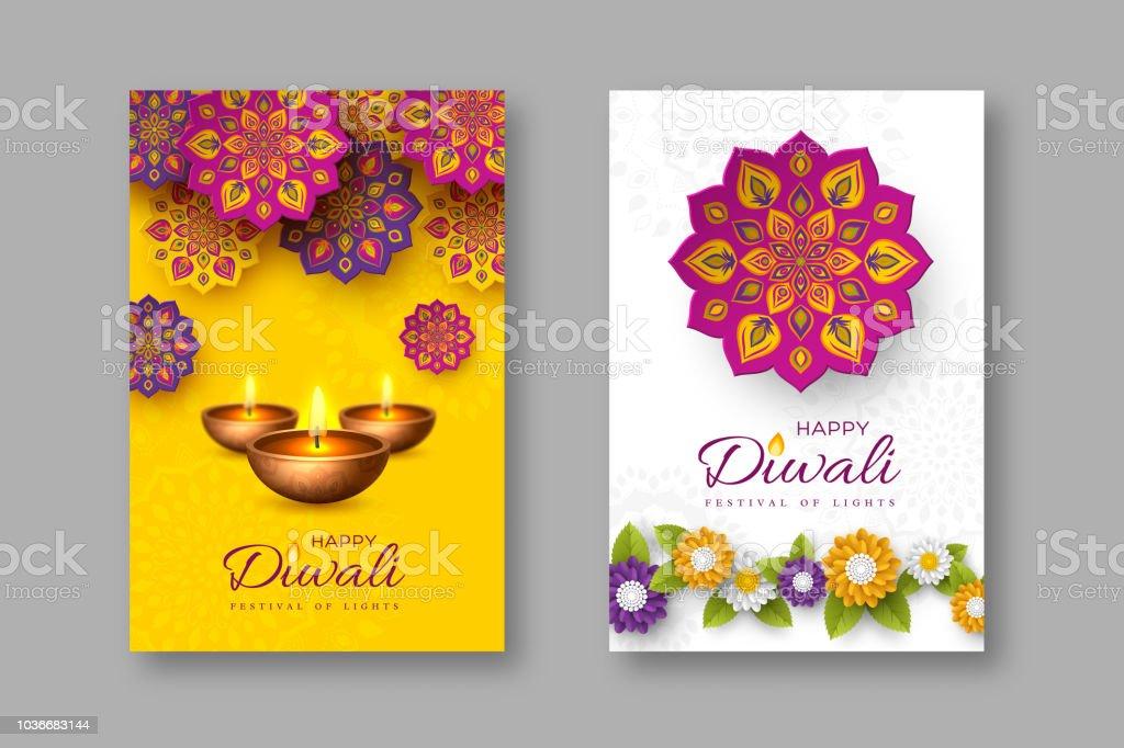 Diwali festivali tatil posterler kağıt ile Hint Rangoli, çiçekler ve diya - kandil tarzı kesti. Sarı ve beyaz renk arka plan, vektör çizim. vektör sanat illüstrasyonu