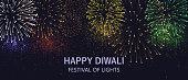 Diwali festival lights poster. DIwali holiday shiny background with fireworks. Vector illustration