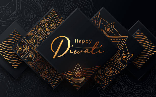 Diwali festival modern luxury design in paper cut style with golden pattern and oil lamp on black textured background. Diwali festival modern luxury design in paper cut style with golden pattern and oil lamp on black textured background. Holiday template for branding, greeting card, banner, cover, flyer or poster diwali stock illustrations