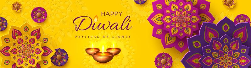 Diwali, festival of lights holiday banner.