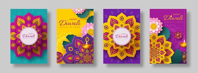 Diwali, festival of lights holiday cards.