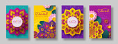 Diwali, festival of lights holiday cards with paper cut style of Indian Rangoli, diya - oil lamp and lotus flowers. Bright color background. Vector illustration.