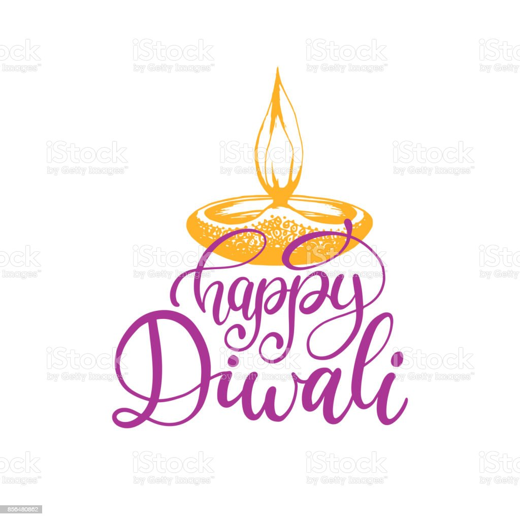 Diwali festival poster with hand lettering vector lamp illustration diwali festival poster with hand lettering vector lamp illustration for indian holiday greeting or invitation stopboris Images