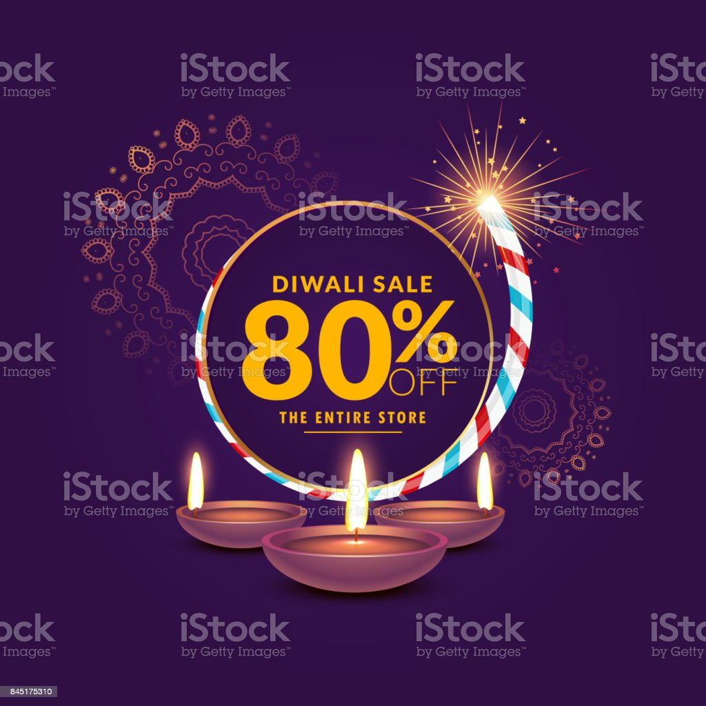 diwali festival sale template background with cracker and diya vector art illustration