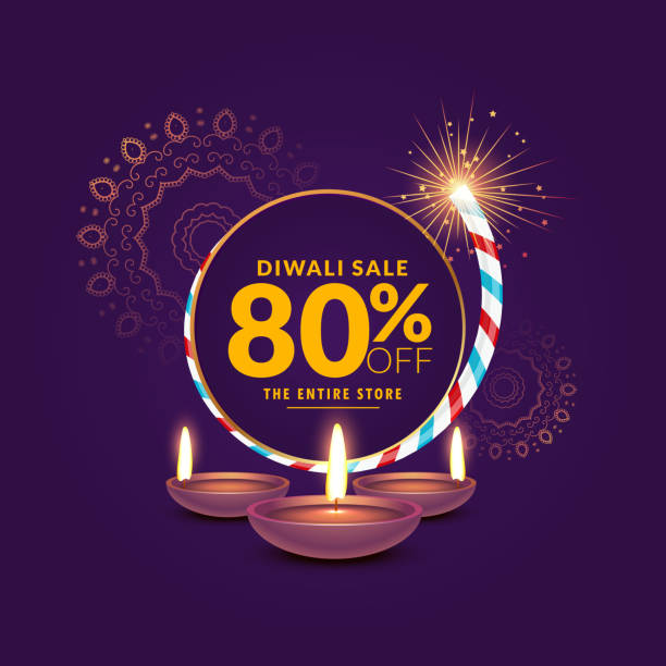 diwali festival sale template background with cracker and diya - diwali stock illustrations, clip art, cartoons, & icons