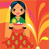 A cute girl / woman character in tradition clothes celebrates the Indian festival Deepavali with an oil lamp and fire crackers