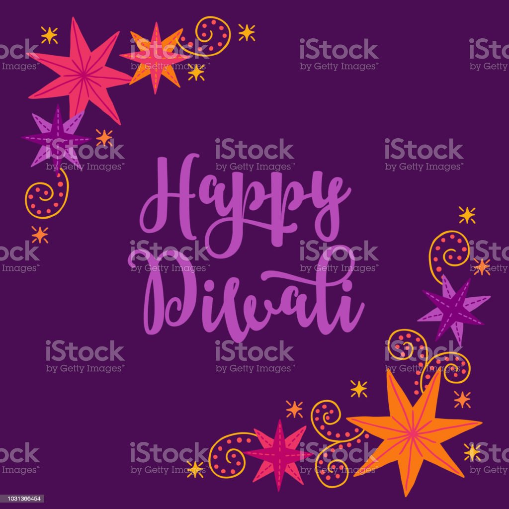 Diwali Greeting Card With Corner Ornament Colorful Stars Stock
