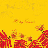 Diwali greeting card with firecrackers on floral decorated yellow background.