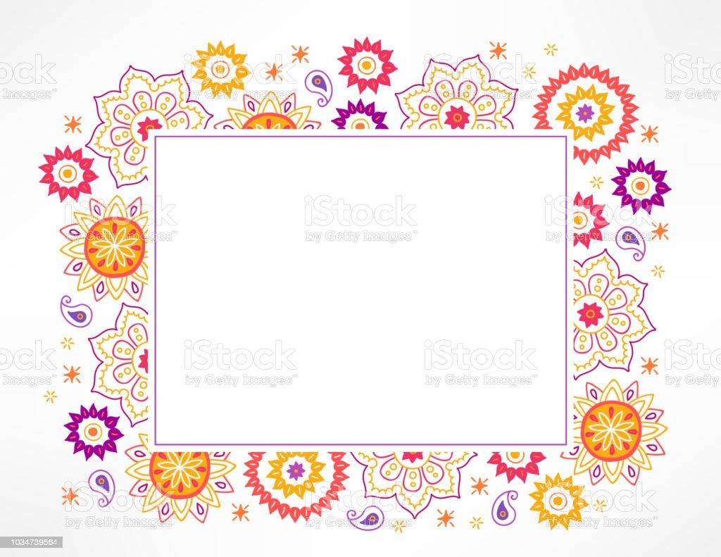 Diwali Greeting Card With Paisley Mandala Stars And Rectangle Label