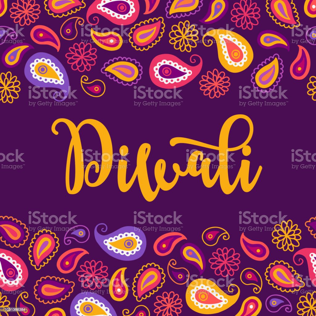 Diwali Greeting Card With Seamless Border Flowers Paisley Stock