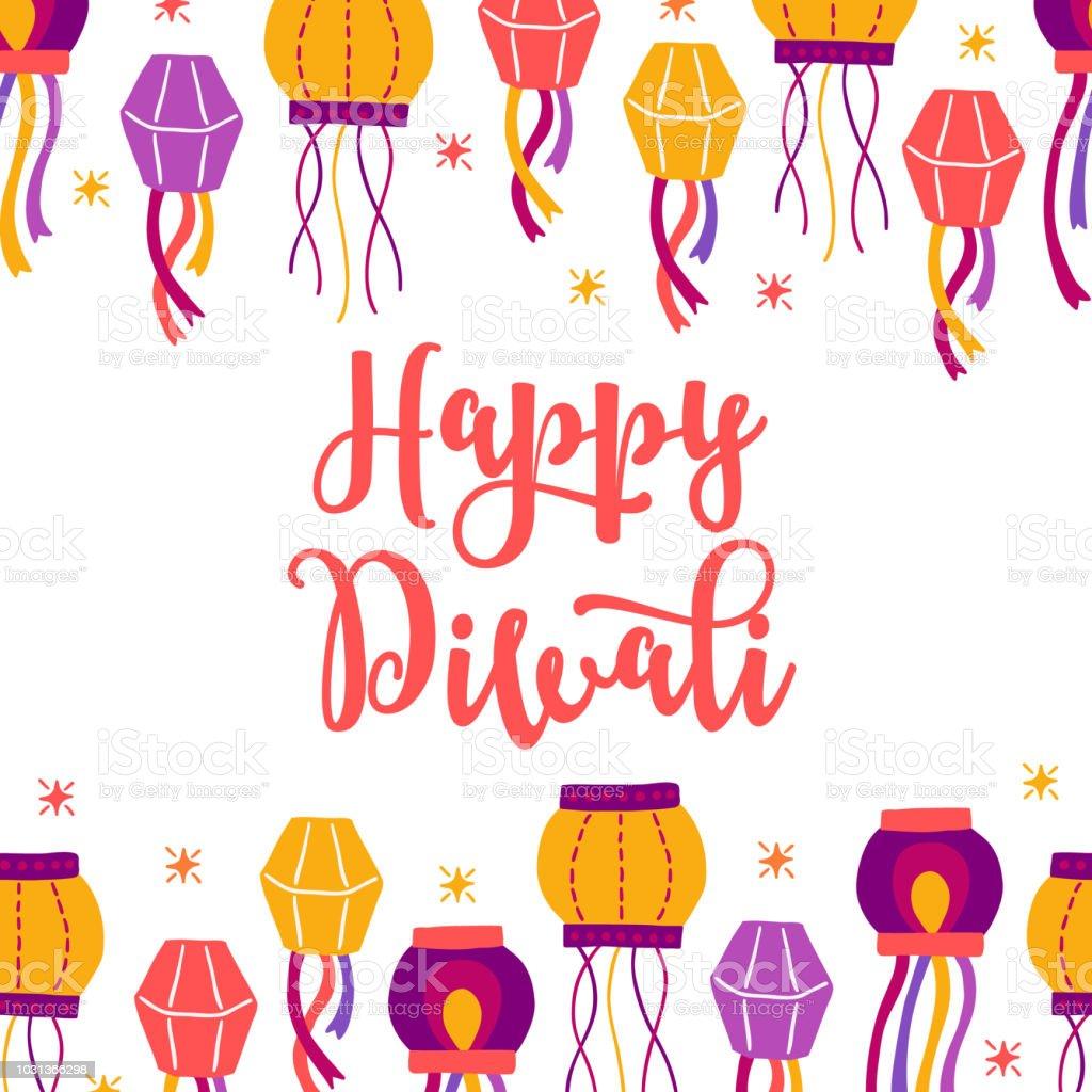 Diwali greeting card with seamless border lanterns and stars stock diwali greeting card with seamless border lanterns and stars royalty free diwali greeting card m4hsunfo