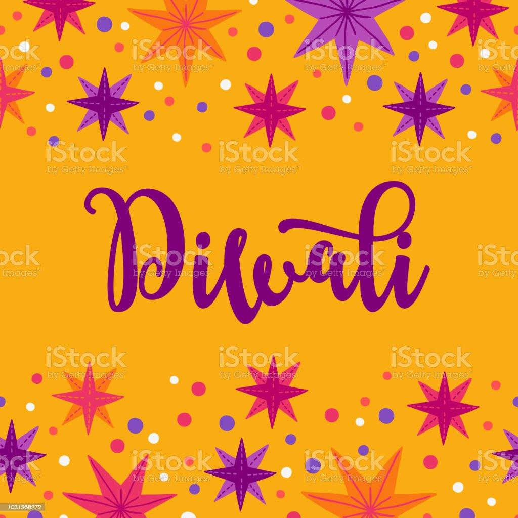 Diwali greeting card with seamless border stars and confetti stock diwali greeting card with seamless border stars and confetti royalty free diwali greeting card m4hsunfo