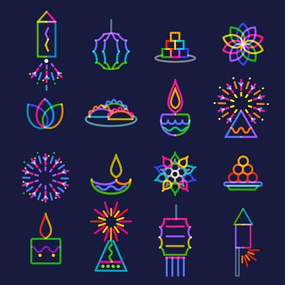 Diwali Greeting Icon Set
