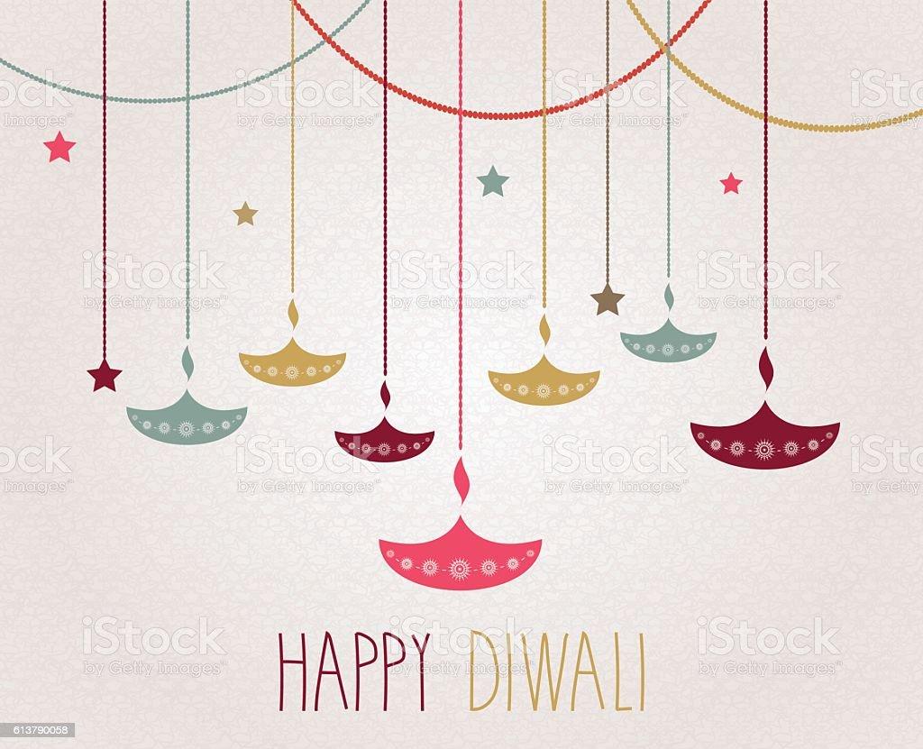 Diwali. Hanging colorful diya. Handwritten text – Vektorgrafik