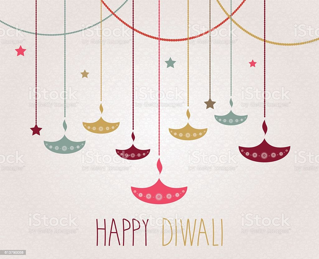 Diwali. Hanging colorful diya. Handwritten text - Illustration vectorielle