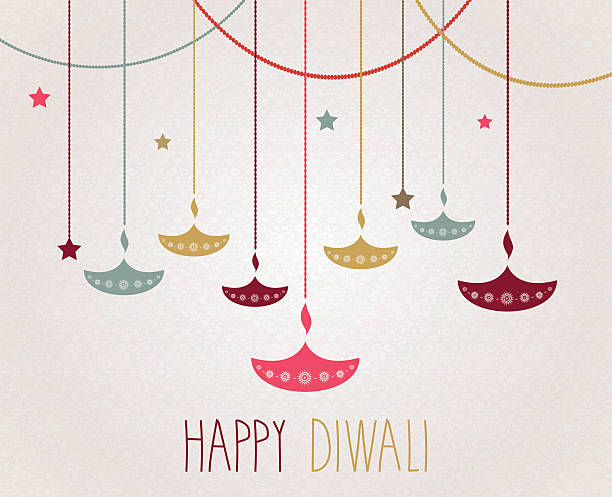 diwali. hanging colorful diya. handwritten text - diwali stock illustrations, clip art, cartoons, & icons