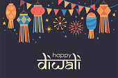 Diwali Hindu festival  cute background with traditional lanterns. Childish print for card, stickers and party invitations. Vector illustration
