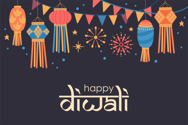 Diwali Hindu festival  cute background with traditional lanterns. Diwali Hindu festival  cute background with traditional lanterns. Childish print for card, stickers and party invitations. Vector illustration diwali stock illustrations
