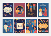 Diwali Hindu festival greeting card design set. Childish print for card, stickers and party invitations. Vector illustration