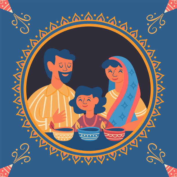 Diwali Hindu festival greeting card design with cute family characters. Diwali Hindu festival greeting card design with cute family characters. Childish print for card, stickers and party invitations. Vector illustration indian family stock illustrations
