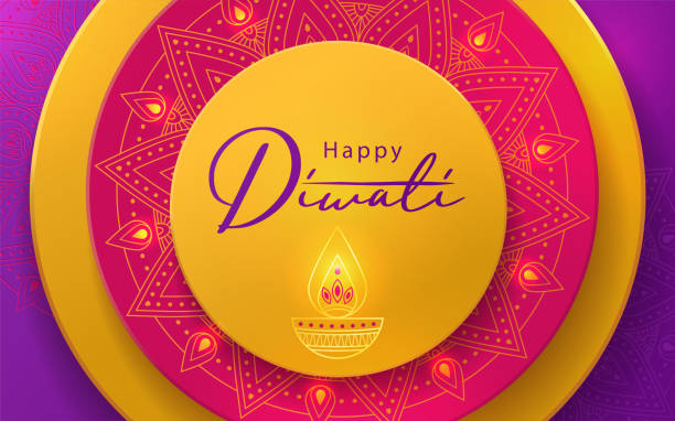 Diwali Hindu festival greeting design in paper cut style with beautiful bright lights, oil lamp and flowers of lights Diwali Hindu festival greeting design in paper cut style with beautiful bright lights, oil lamp and flowers of lights. Holiday background for branding, greeting card, banner, cover, flyer or poster diwali stock illustrations