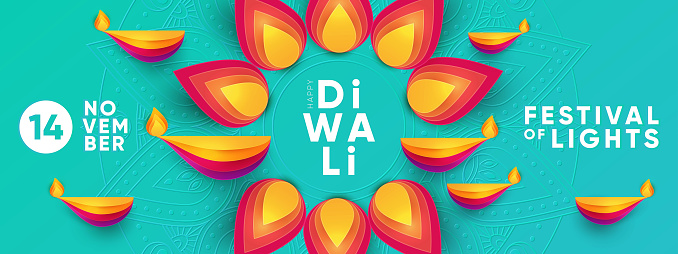 Diwali Hindu festival greeting design in paper cut style with oil lamps and beautiful bright flower of lights.