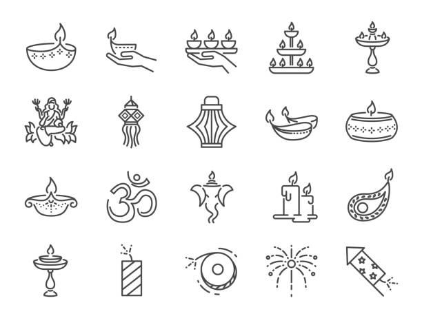 diwali icon set. included icons as deepavali celebrate, light festival, candle, lamp, hindu celebration, hinduism and more. - diwali stock illustrations