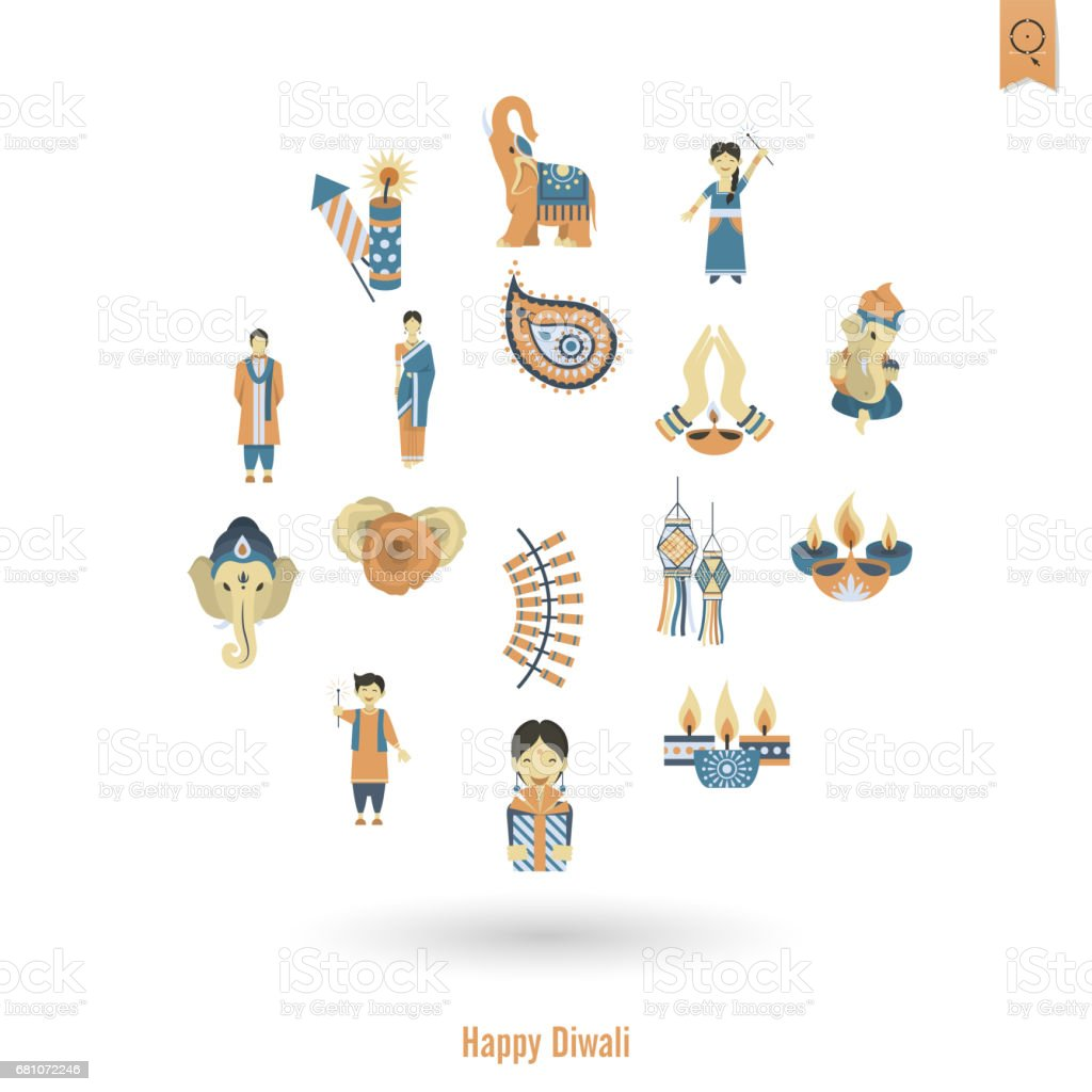 Diwali. Indian Festival Icons royalty-free diwali indian festival icons stock vector art & more images of buddhism