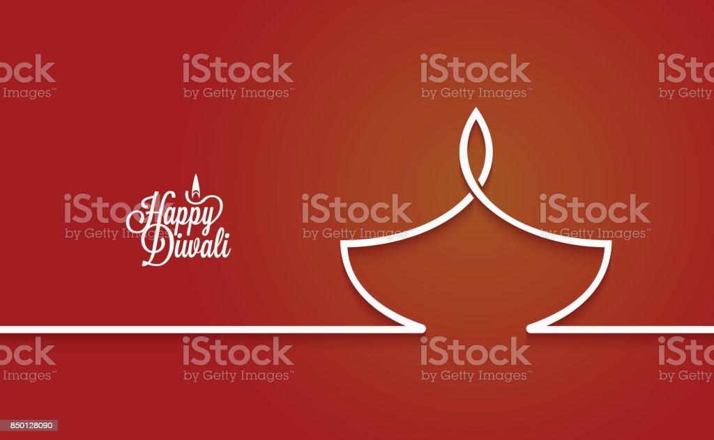 Diwali lamp logo line design background vector art illustration