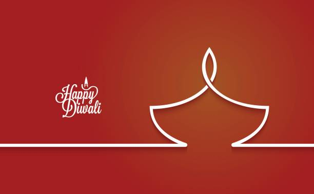 diwali lamp logo line design background - diwali stock illustrations, clip art, cartoons, & icons