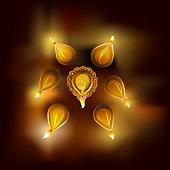 Beautiful illustration of diwali lamp