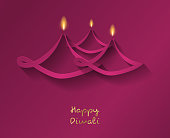Diwali lamps - concept of card with wishes. Vector.