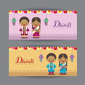 Diwali or Deepavali banner template design. Cute cartoon India kids, colorful garland, diwali diya (oil lamp) & kandil lantern. Festival of Lights celebration vector illustration.