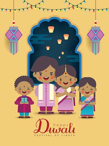 Diwali or Deepavali - Cartoon Indian family celebtare festival of lights clipart