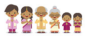 Set of cute cartoon indian family isolated on white background. Diwali or deepavali character in flat vector design. Father, mother, grandfather, grandmother, brother & sister.