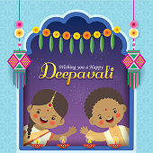 Diwali or Deepavali greeting card. Cute cartoon Indian kids with diwali diya, kandil lantern, marigold mango leaf door hanging, fireworks & window frame. Indian festival of lights flat vector.