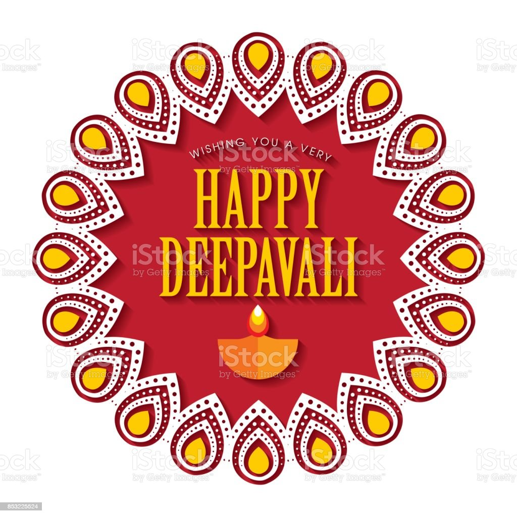 Diwali Or Deepavali Greetings Template With Beautiful Burning Diwali