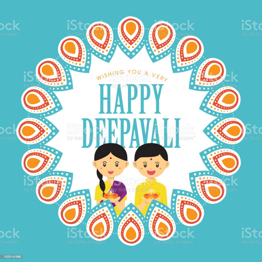 Diwali Or Deepavali Greetings Template With Cute Indian Boy And Girl